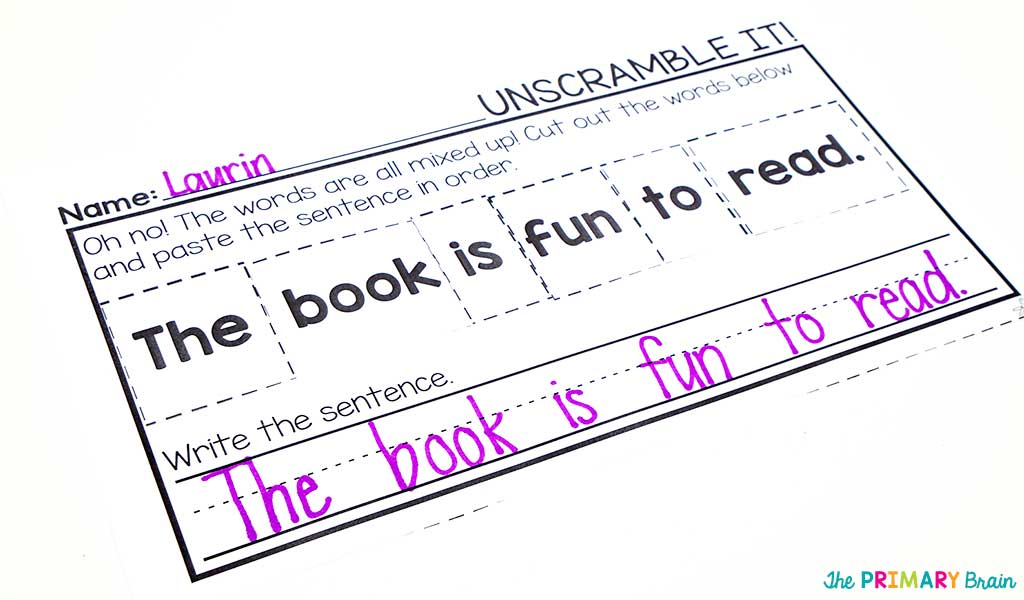 Unscramble Worksheet