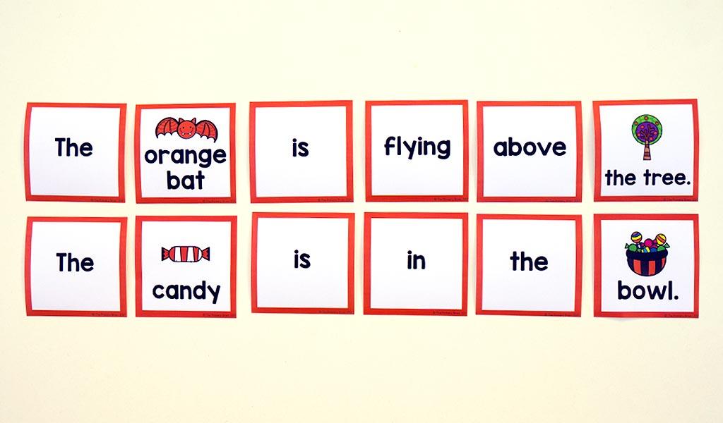 Scrambled sentence card