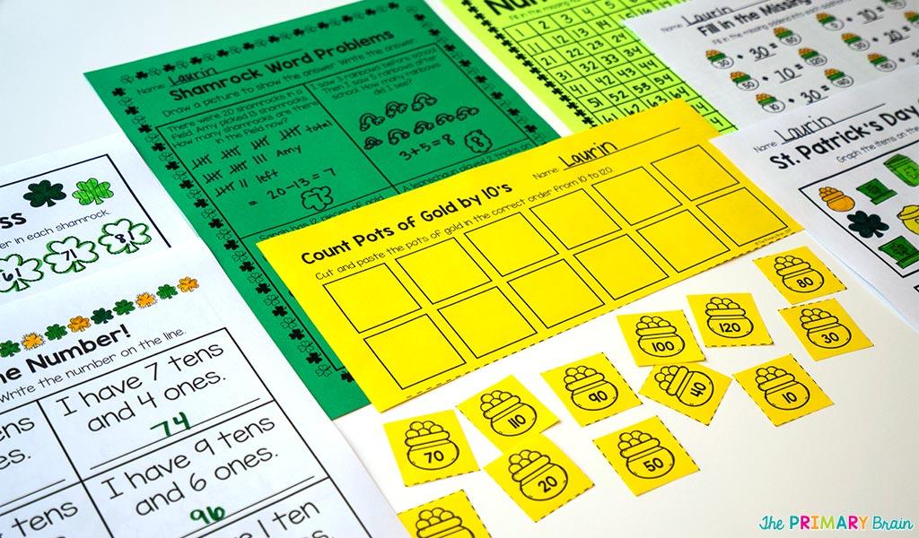 St. Patrick\'s Day NO PREP Math Activites   The Primary Brain
