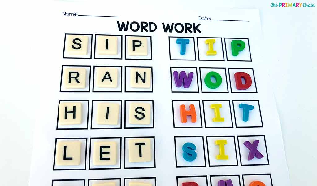 Word Work Worksheet